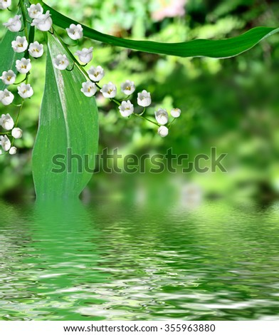 Spring landscape. flowers lily of the valley - stock photo