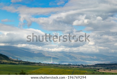 Spring landscape from the region of Stara planina mountain Bulgaria near Pirdop town - stock photo