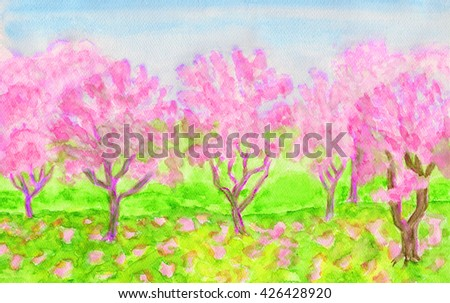 Spring landscape, garden with trees in blossom of pink colour, hand painted picture, watercolours. - stock photo