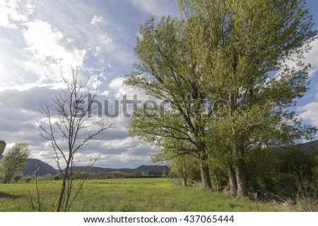 Spring landscape in Gudar mountains Teruel Aragon Spain - stock photo