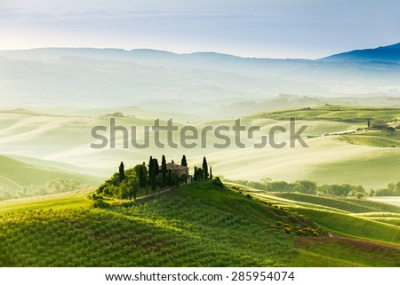 Spring landscape of fields Tuscany, Italy
