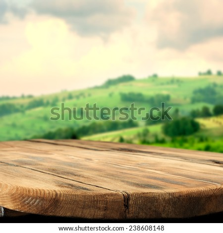 spring landscape of green tuscany and table place texture  - stock photo