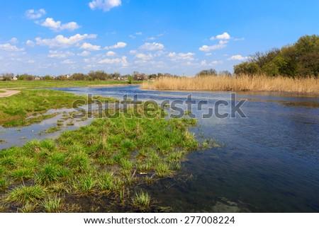 Spring landscape on small Samara river, Ukraine - stock photo