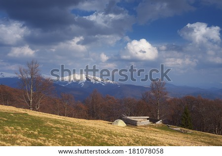 Spring landscape with beautiful clouds. Camping in the mountains. Carpathians, Ukraine, Europe - stock photo