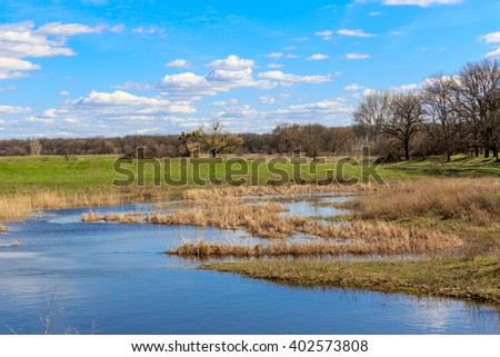 Spring landscape with flooded meadow under nice blue sky - stock photo
