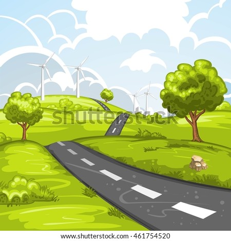 Spring landscape with road