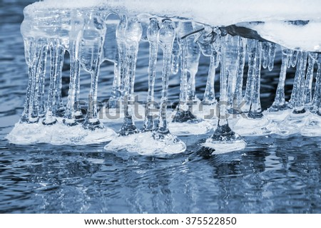 Spring landscape with transparent icicles on water - stock photo