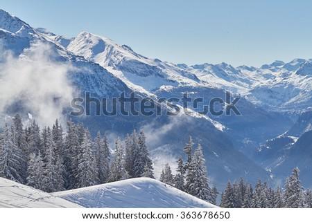 spring landscapes ski resort of La Rosiere, France - stock photo