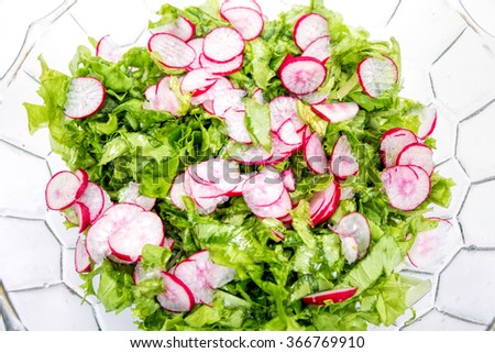 Spring light salad of radish and lettuce. View from above