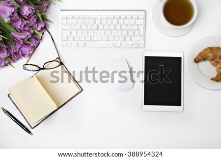 Spring look at the desk, lay flat - stock photo
