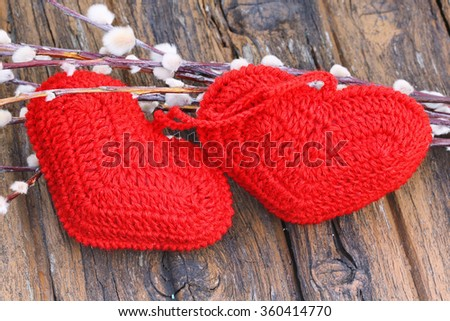 Spring love background couple knitted heart willow Easter Valentine's Day selective soft focus rustic retro style - stock photo