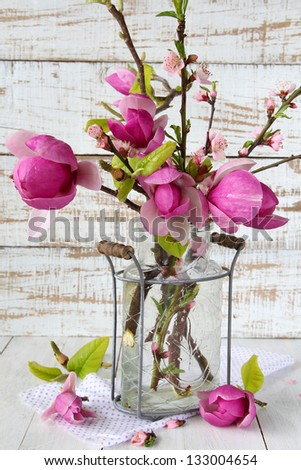 Spring magnolia and blossom in glass vase - stock photo