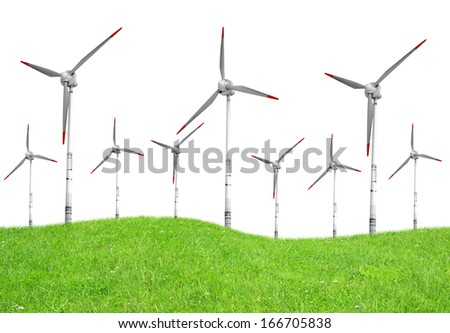 Spring meadow with wind turbines on white - stock photo