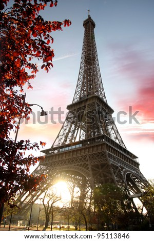 Spring morning with Eiffel Tower, Paris, France