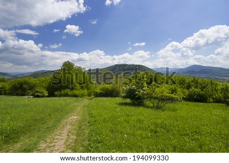 Spring mountain landscape with blooming meadow and the peaks of Beskydy mountains - stock photo