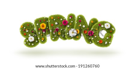 Spring of grass and flowers  - stock photo
