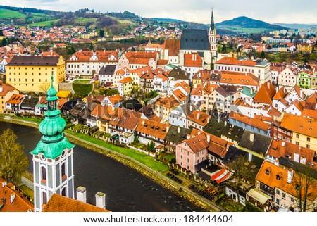 Spring panorama aerial view of Cesky Krumlov. Czech republic - stock photo