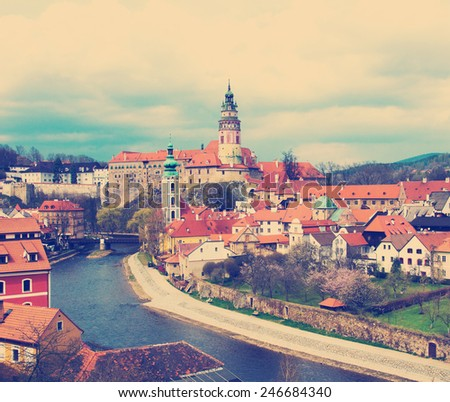 Spring panorama aerial view of Cesky Krumlov instagram. Czech republic - stock photo