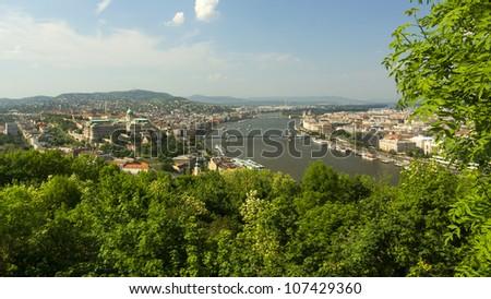 spring panoramic photo of the budapest historic center, hungary - stock photo