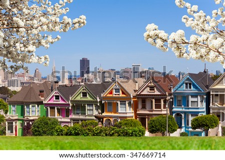 Spring photo of Painted ladies and San Francisco s - stock photo