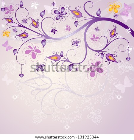 Spring pink floral easter frame with branch, flowers and butterflies - stock photo
