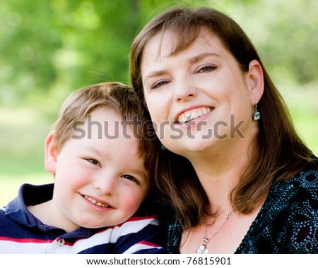 Spring portrait of mother and son on Mother's Day.