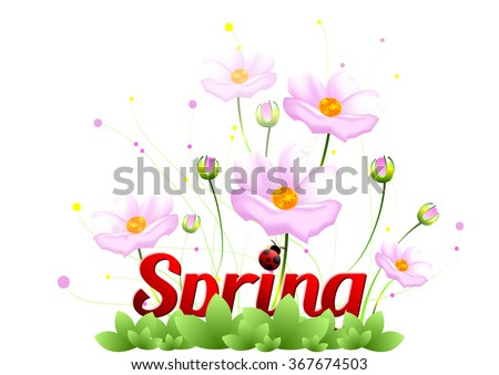 Spring positive postcard congratulations beginning spring stock spring positive postcard for congratulations with beginning of spring pink spring flowers on meadow isolated mightylinksfo