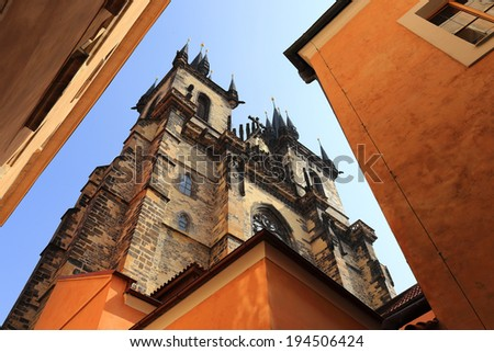 Spring Prague with gothic Tyn Cathedral, Czech Republic
