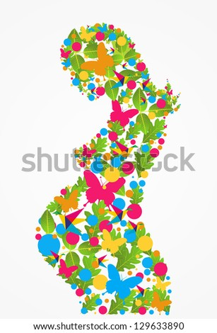 Spring pregnant woman flowers silhouette background.
