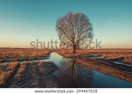 Spring puddles at the road throughout field. - stock photo
