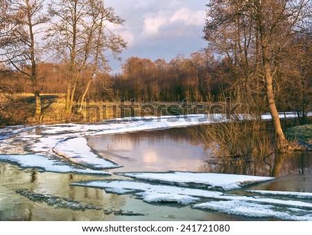 Spring. River Sukhodrev, Kaluga region, Russia - stock photo