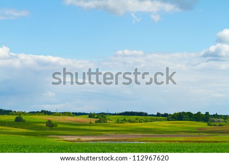 Spring rural landscape - stock photo