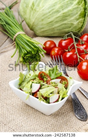 Spring salad - healthy food - stock photo