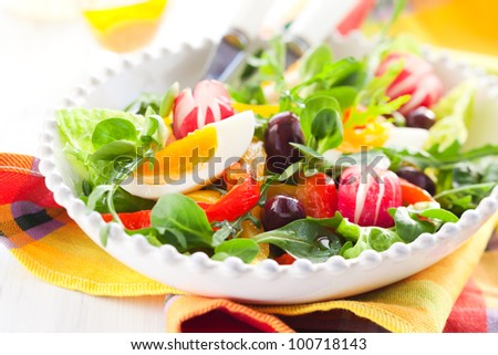 spring salad with grilled pepper,radish,olive and egg