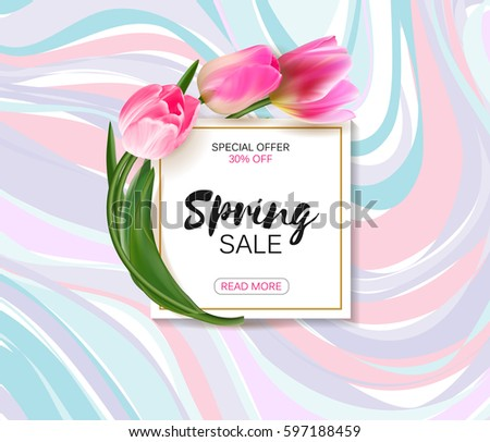 Spring Sale Background Realistic Tulips Template Stock ...