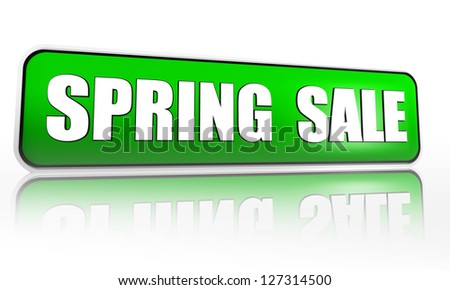 spring sale button - 3d green banner with white text, business concept