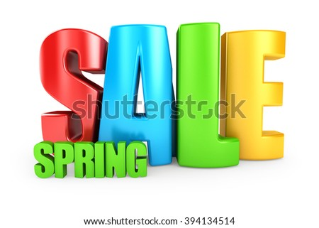 Spring sale 3d text isolated over white background