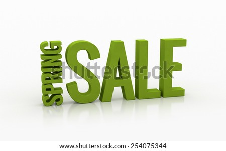 Spring sale 3d text on a white background - stock photo