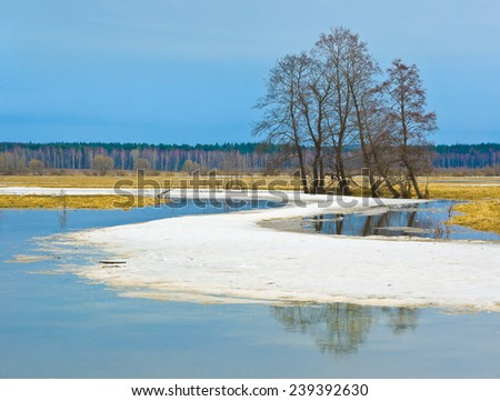 Spring scene. Sukhodrev river, Kaluga region, Russia - stock photo