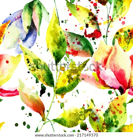 Spring seamless pattern with flowers, watercolor illustration