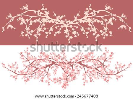 spring season asian style cherry blossom - sakura branches decorative design - stock photo