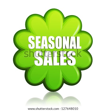 spring seasonal sales banner - 3d green flower label with white text, business concept