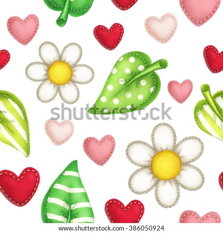 Spring sewing pillows in daisy, leaves and heart shape seamless pattern on white isolated background - stock photo