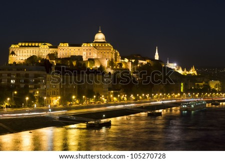 Spring shot of the Royal Palace and Danube, Budapest in the evening