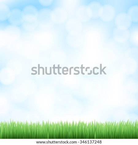 spring sky background with green grass. JPG version - stock photo