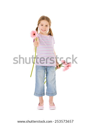 Spring: Smiling Girl Holding Bunch Of Daisies Towards Camera