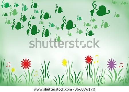 Spring, springtime in meadow - stock photo