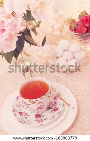 Spring still life, morning tea with dessert, tinted