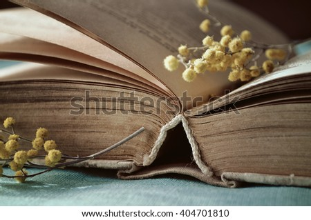 Spring still life -  open old book with yellow mimosa flowers.  Vintage tones processing. Selective focus at the book's spine