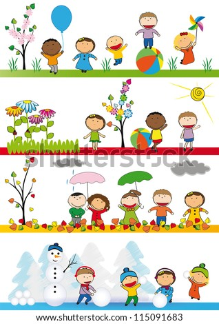 spring summer autumn and winter happy kids - Summer Pictures For Kids